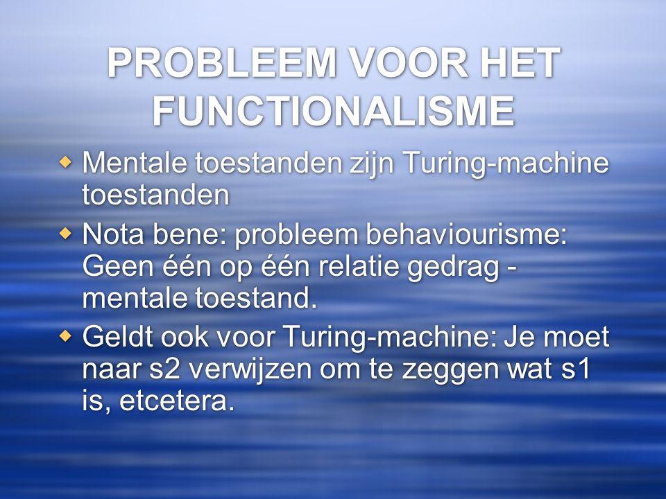 PROBLEEM VOOR HET FUNCTIONALISME