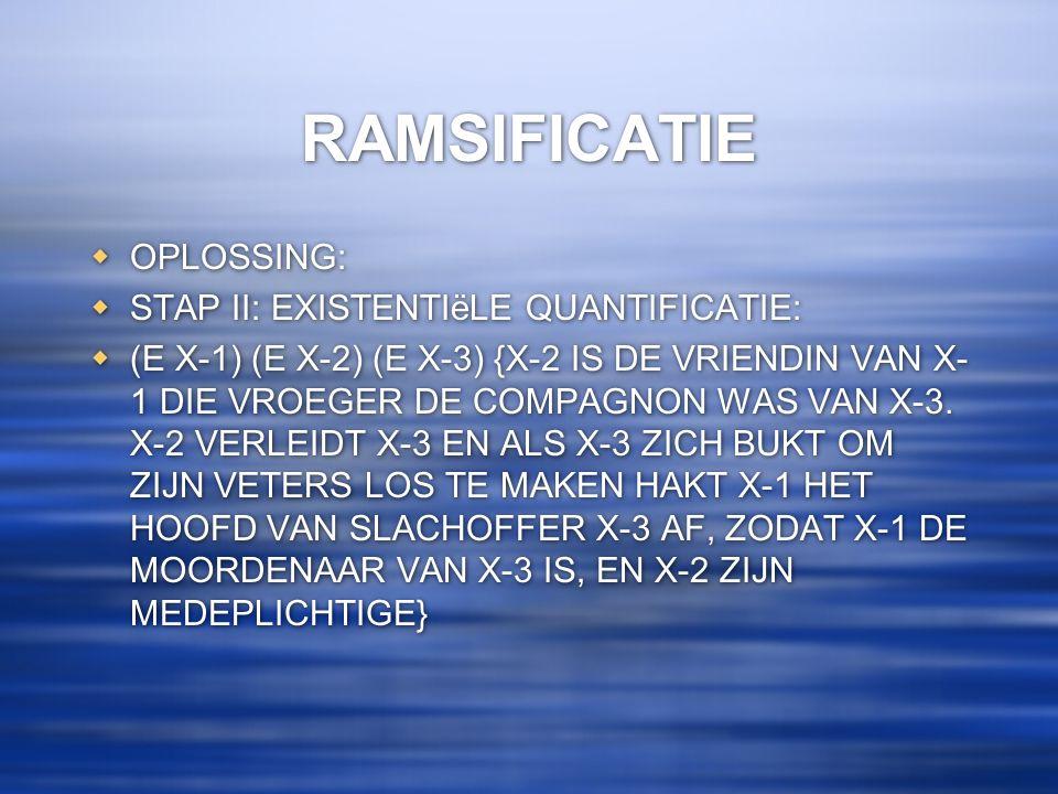 RAMSIFICATIE OPLOSSING: STAP II: EXISTENTIëLE QUANTIFICATIE: