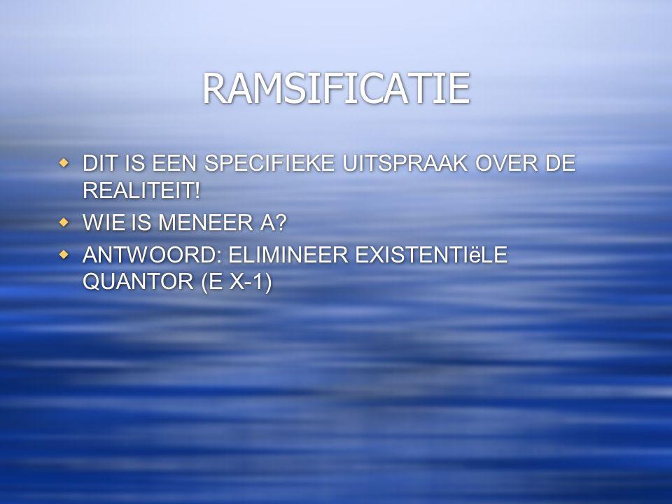 RAMSIFICATIE DIT IS EEN SPECIFIEKE UITSPRAAK OVER DE REALITEIT!