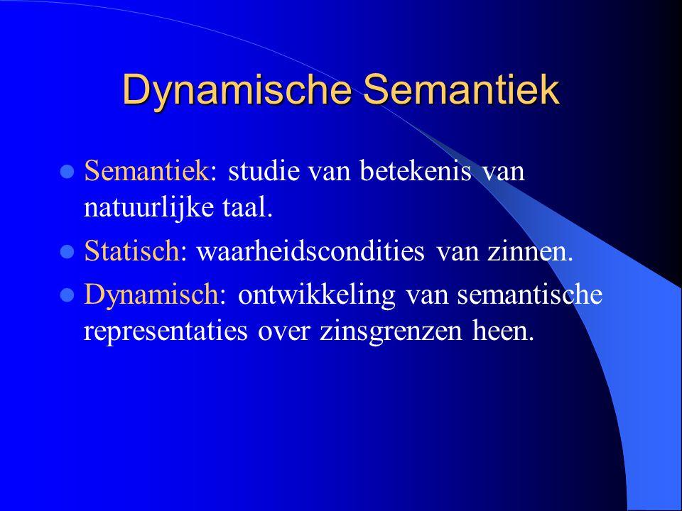 Dynamische Semantiek Semantiek: studie van betekenis van natuurlijke taal. Statisch: waarheidscondities van zinnen.