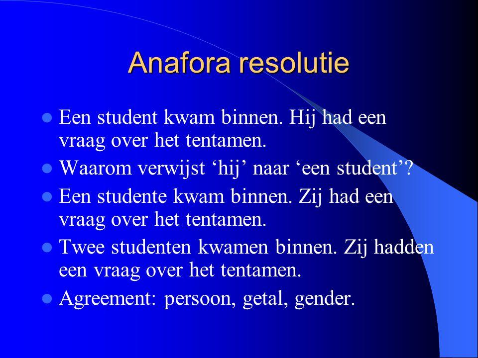 Anafora resolutie Een student kwam binnen. Hij had een vraag over het tentamen. Waarom verwijst 'hij' naar 'een student'
