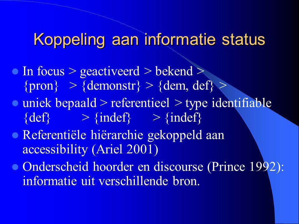 Koppeling aan informatie status