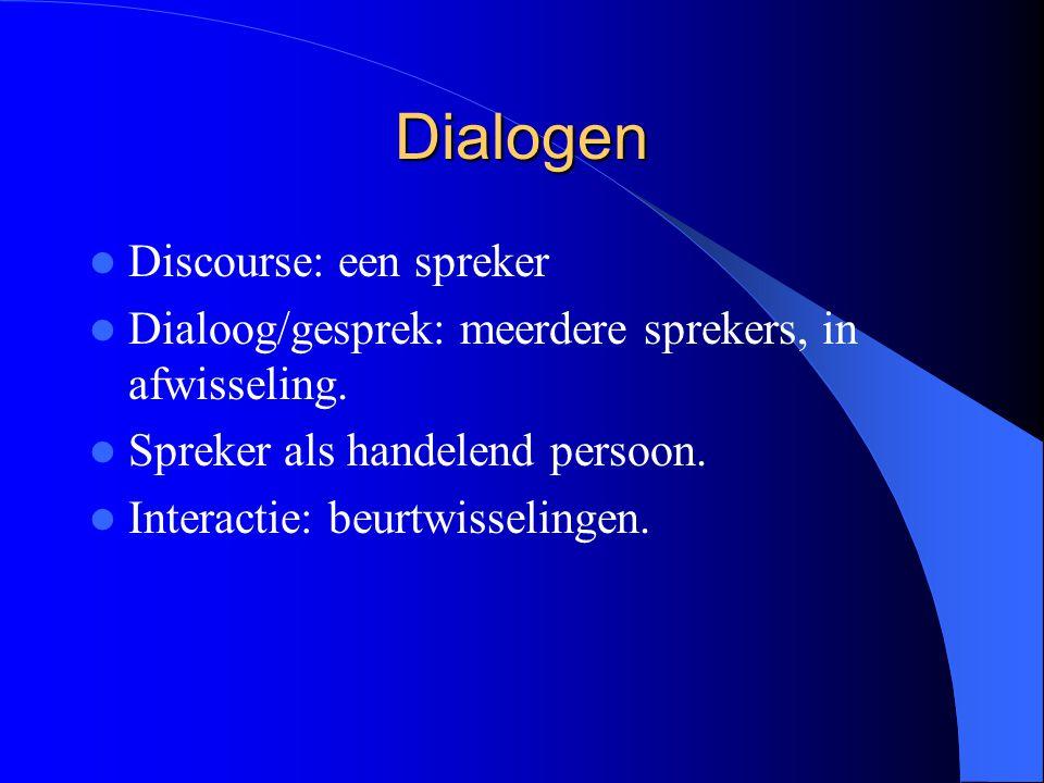 Dialogen Discourse: een spreker