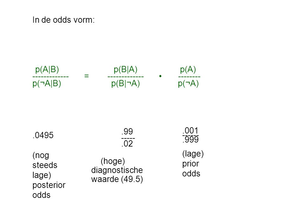 In de odds vorm: