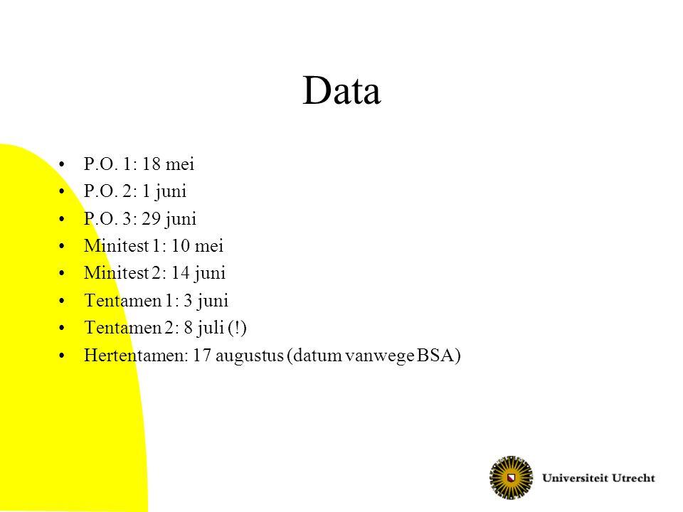 Data P.O. 1: 18 mei P.O. 2: 1 juni P.O. 3: 29 juni Minitest 1: 10 mei
