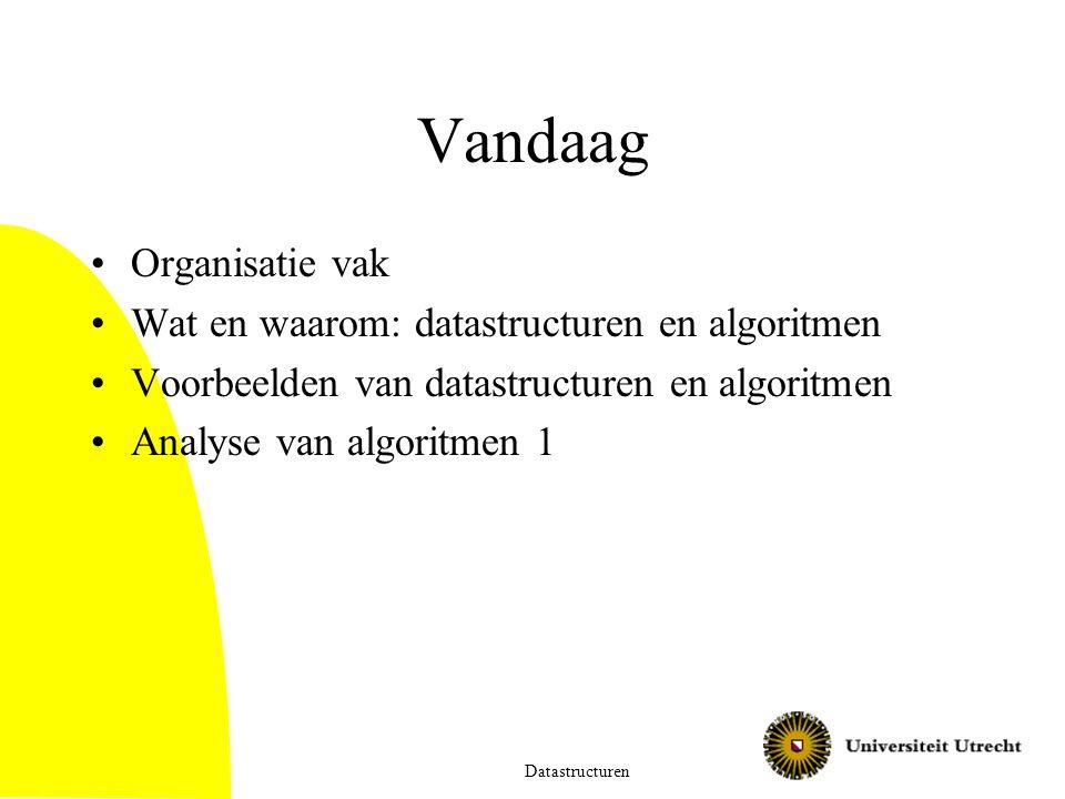 Vandaag Organisatie vak Wat en waarom: datastructuren en algoritmen