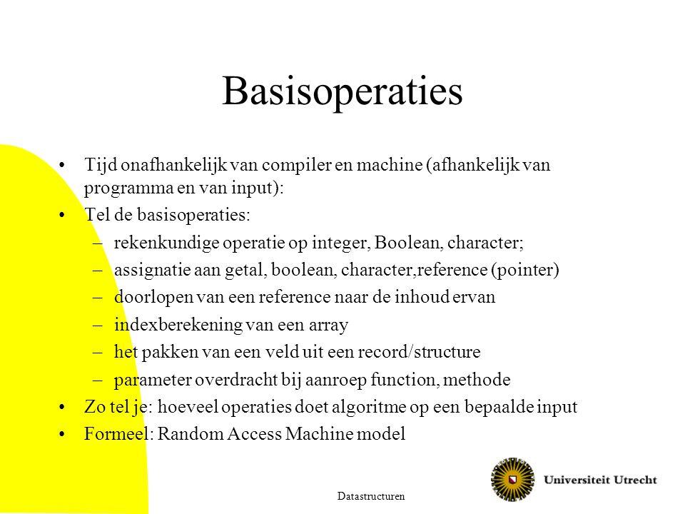 Basisoperaties Tijd onafhankelijk van compiler en machine (afhankelijk van programma en van input):
