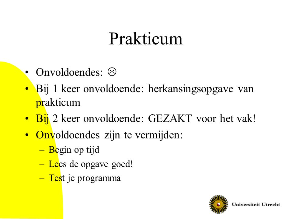 Prakticum Onvoldoendes: 