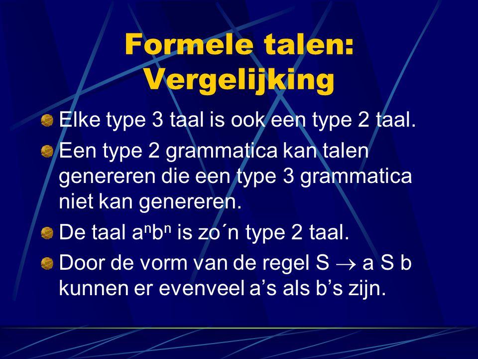 Formele talen: Vergelijking