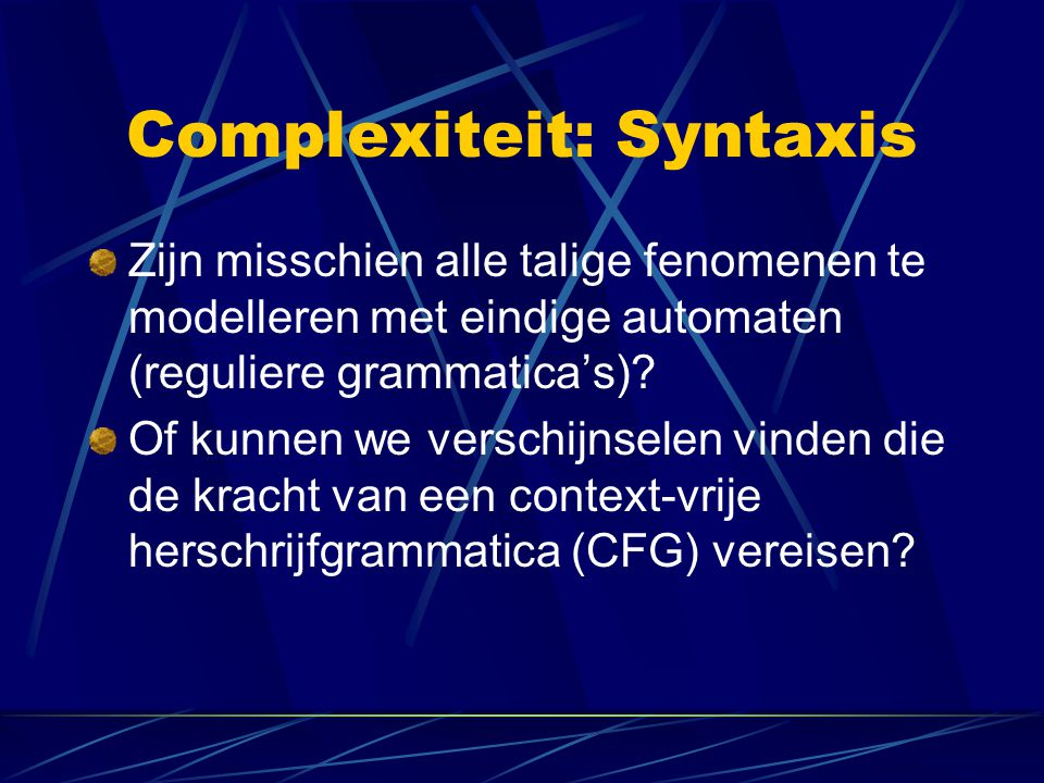 Complexiteit: Syntaxis