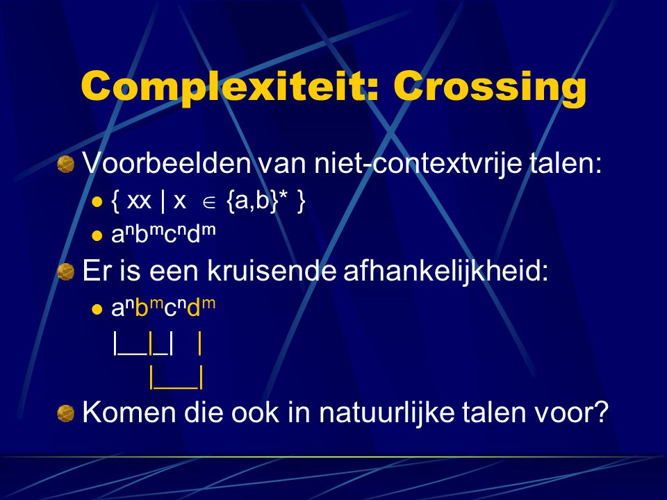 Complexiteit: Crossing