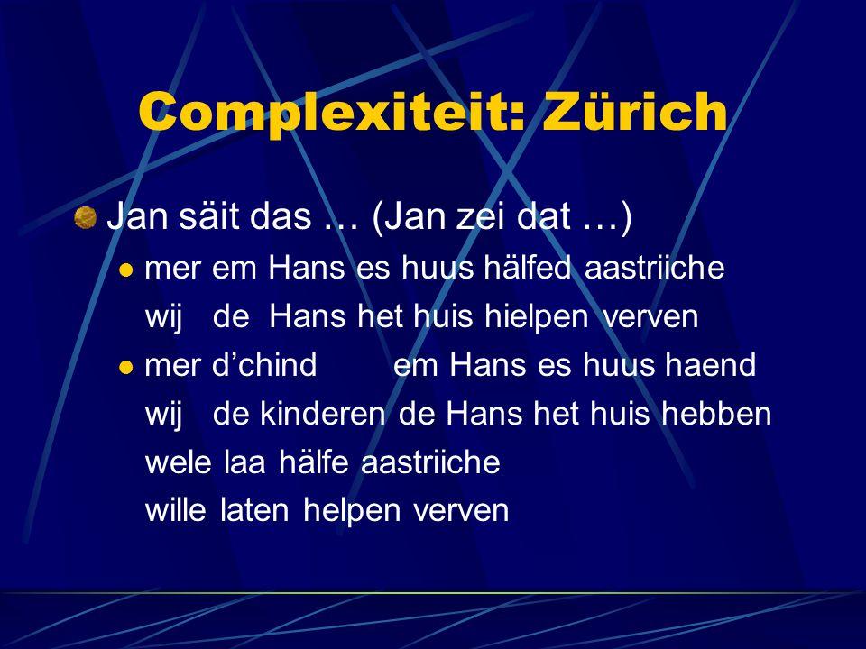 Complexiteit: Zürich Jan säit das … (Jan zei dat …)