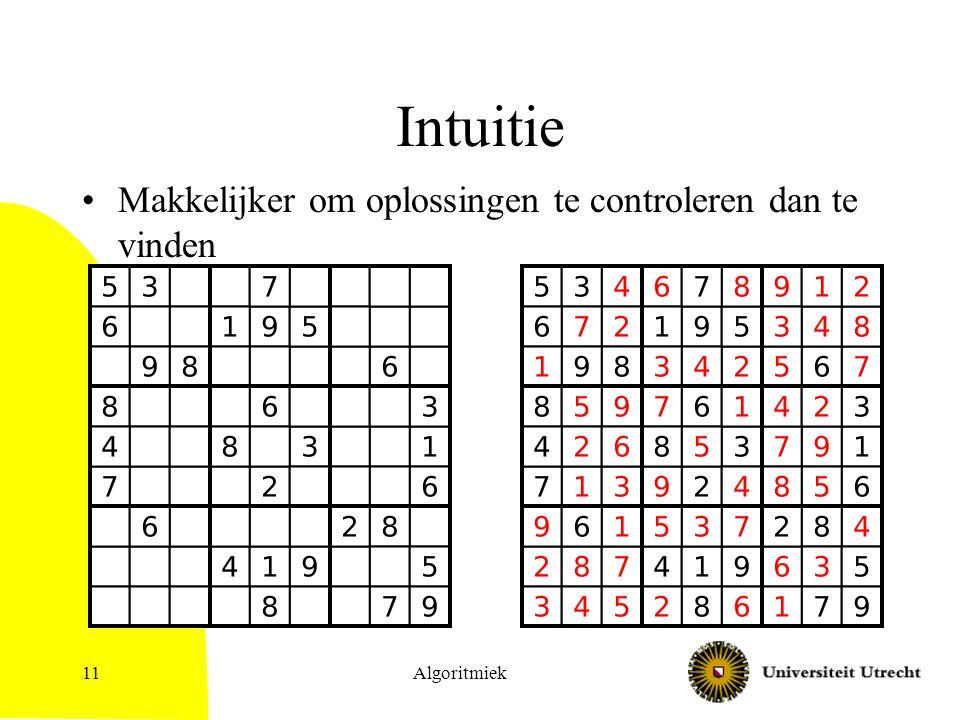Intuitie Makkelijker om oplossingen te controleren dan te vinden