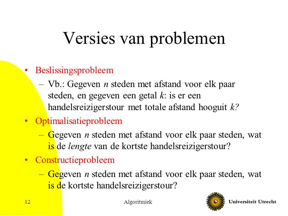 Versies van problemen Beslissingsprobleem