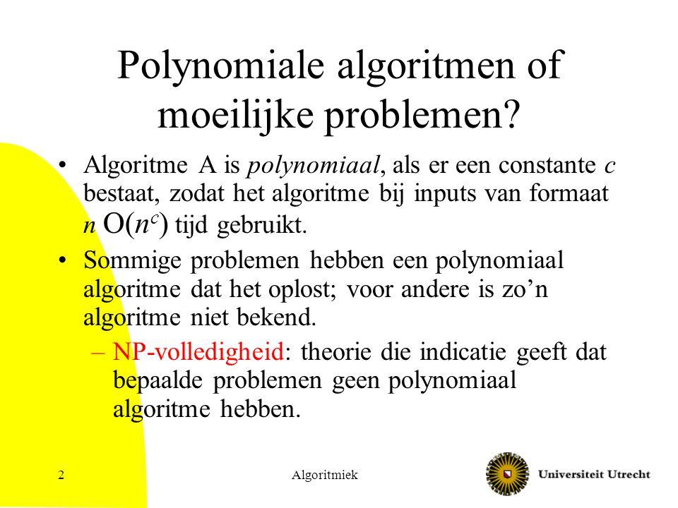 Polynomiale algoritmen of moeilijke problemen