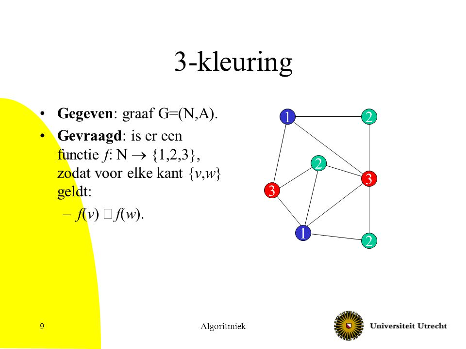 3-kleuring Gegeven: graaf G=(N,A).