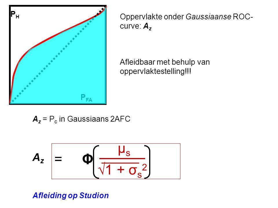 μs = Φ √1 + σs2 Az PH Oppervlakte onder Gaussiaanse ROC-curve: Az
