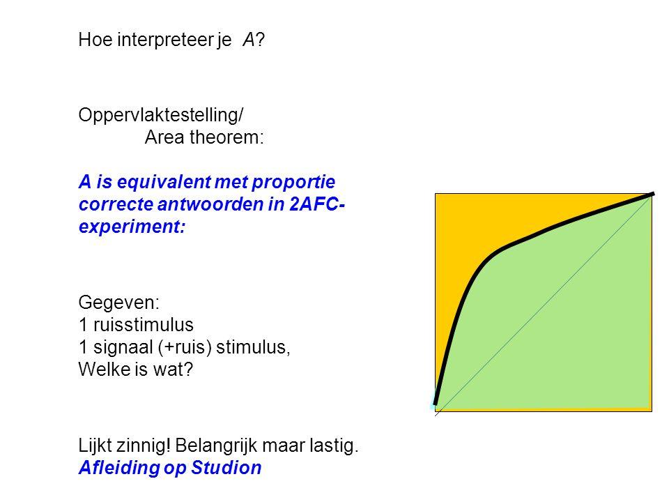 Hoe interpreteer je A Oppervlaktestelling/ Area theorem: A is equivalent met proportie correcte antwoorden in 2AFC-experiment: