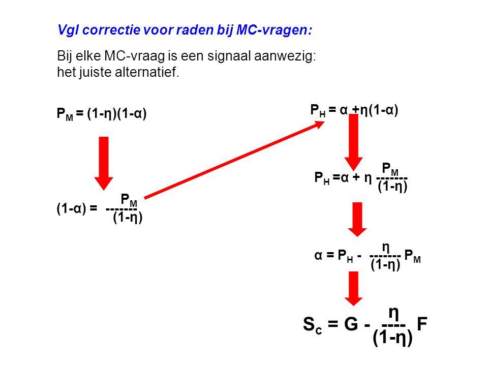 η Sc = G - ---- F (1-η) Vgl correctie voor raden bij MC-vragen: