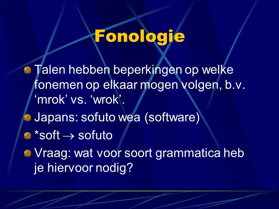 Fonologie Talen hebben beperkingen op welke fonemen op elkaar mogen volgen, b.v. 'mrok' vs. 'wrok'.