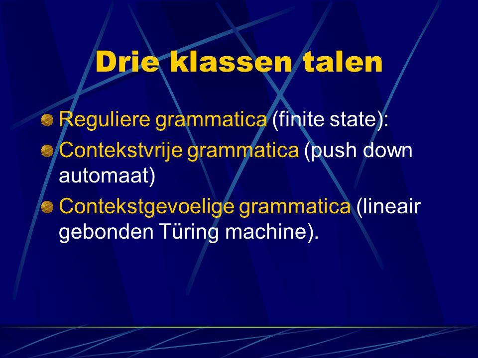 Drie klassen talen Reguliere grammatica (finite state):