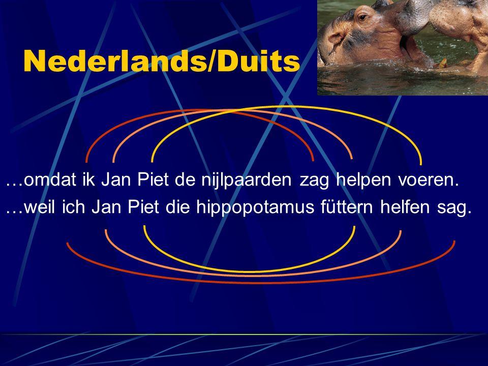Nederlands/Duits …omdat ik Jan Piet de nijlpaarden zag helpen voeren.