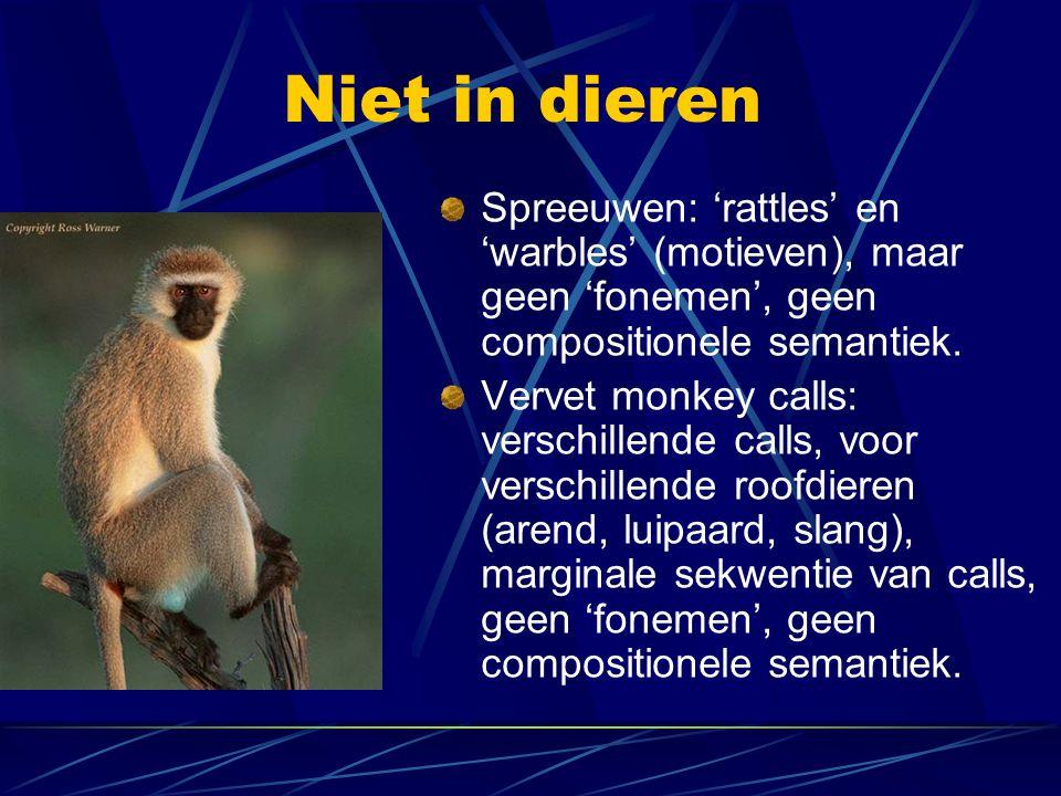 Niet in dieren Spreeuwen: 'rattles' en 'warbles' (motieven), maar geen 'fonemen', geen compositionele semantiek.