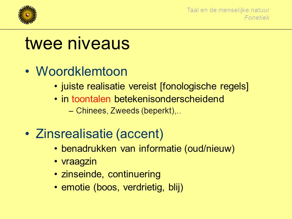 twee niveaus Woordklemtoon Zinsrealisatie (accent)