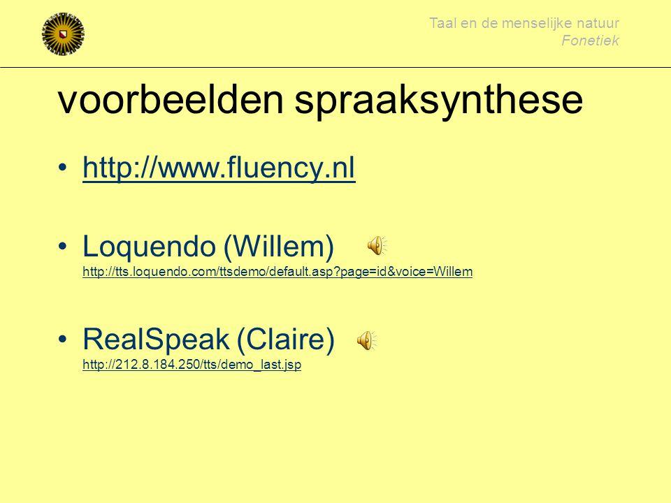 voorbeelden spraaksynthese