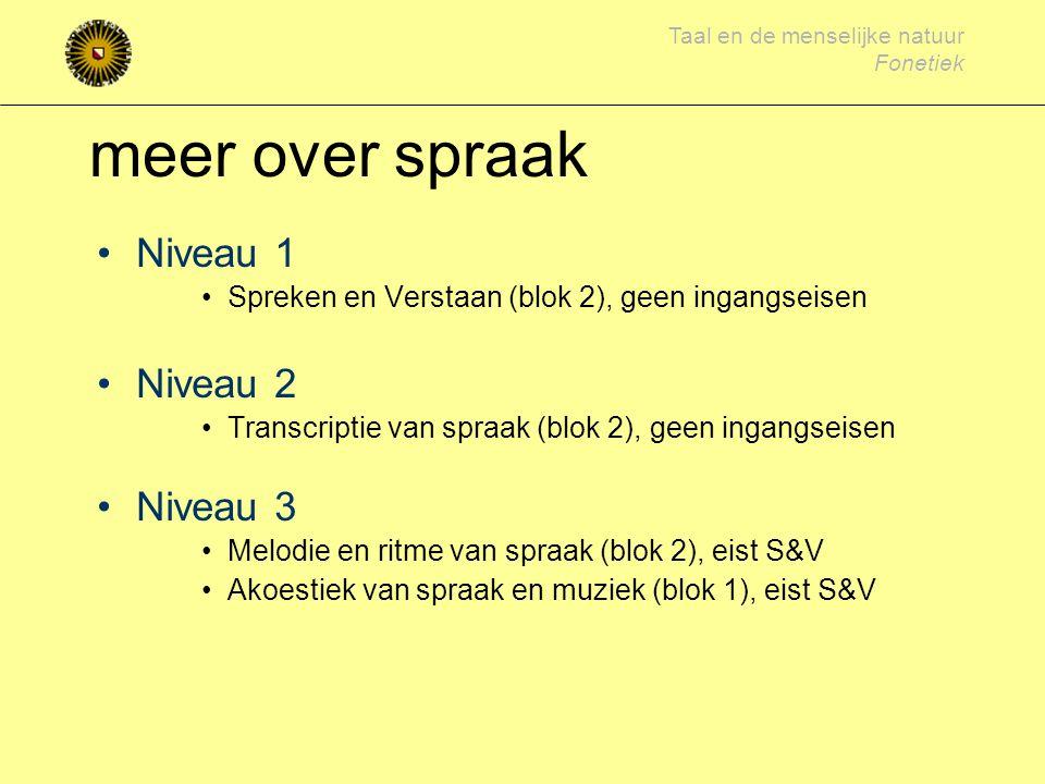 meer over spraak Niveau 1 Niveau 2 Niveau 3