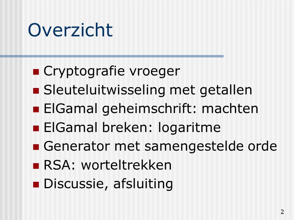 Overzicht Cryptografie vroeger Sleuteluitwisseling met getallen