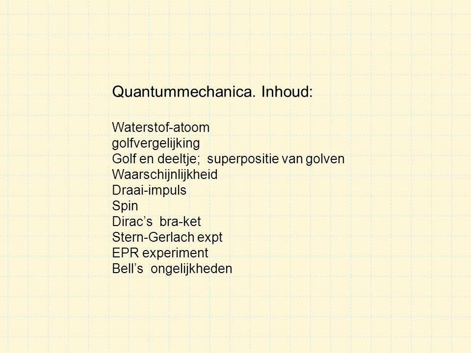 Quantummechanica. Inhoud: