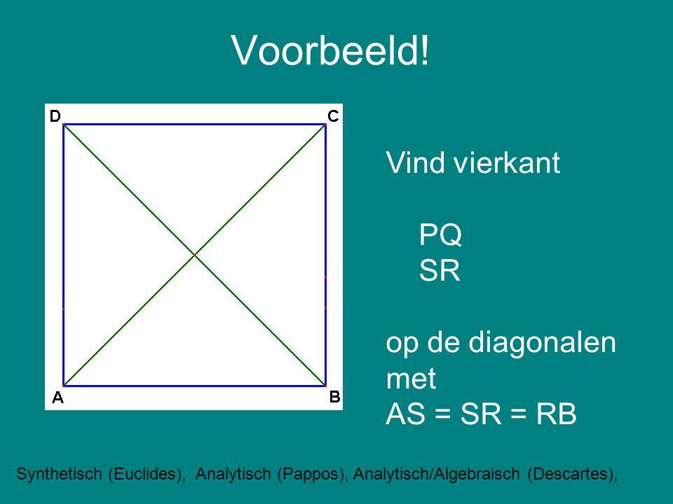 Voorbeeld! Vind vierkant PQ SR op de diagonalen met AS = SR = RB