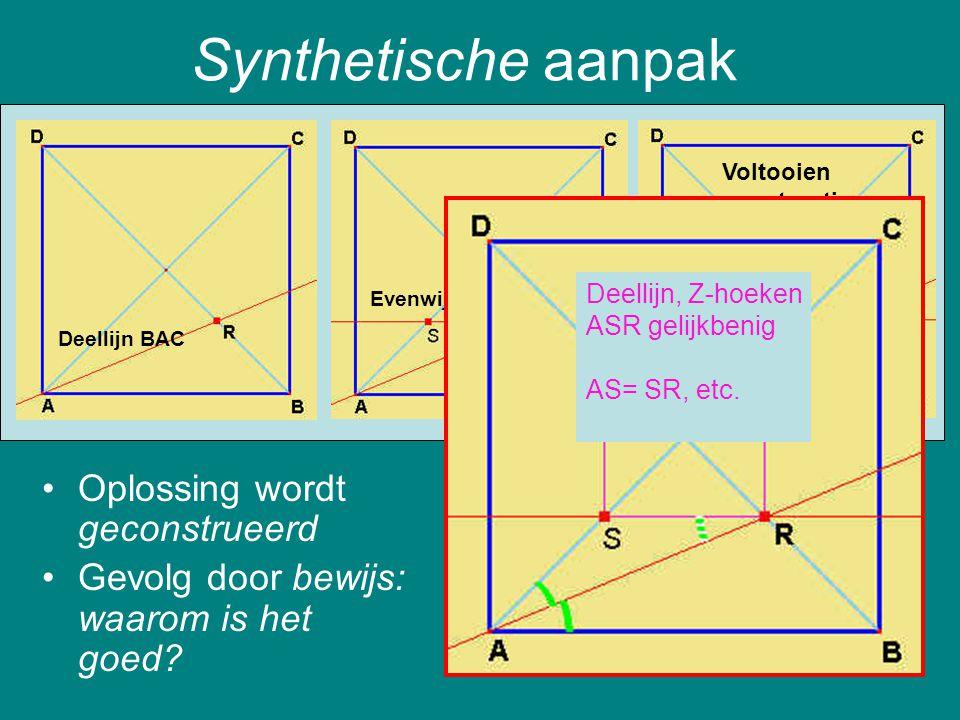 Synthetische aanpak Oplossing wordt geconstrueerd
