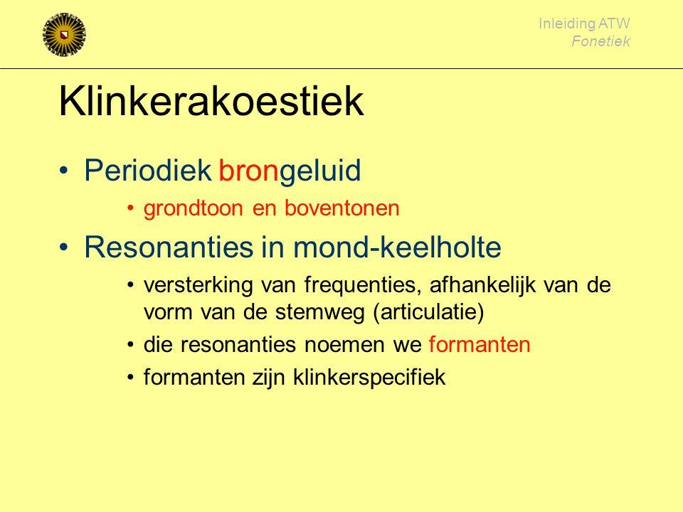 Klinkerakoestiek Periodiek brongeluid Resonanties in mond-keelholte