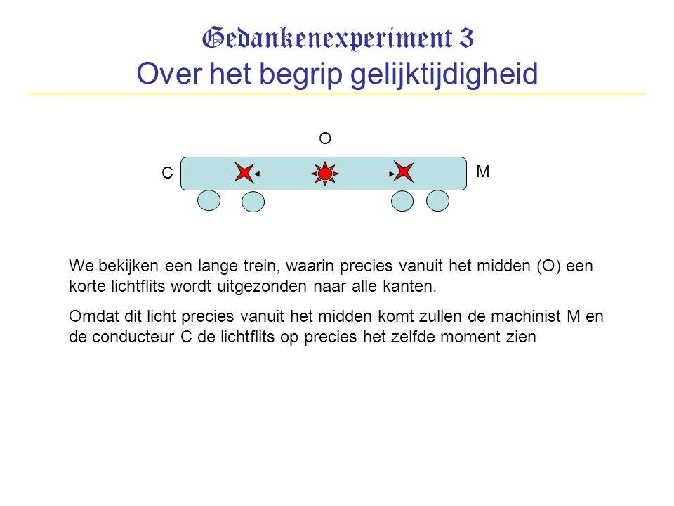 Gedankenexperiment 3 Over het begrip gelijktijdigheid