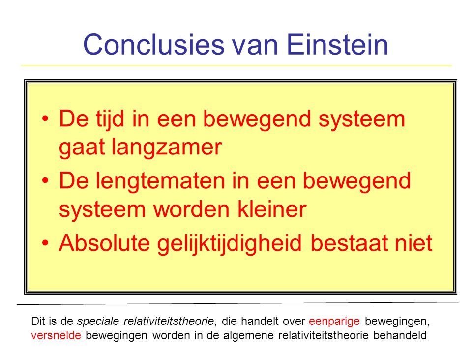 Conclusies van Einstein