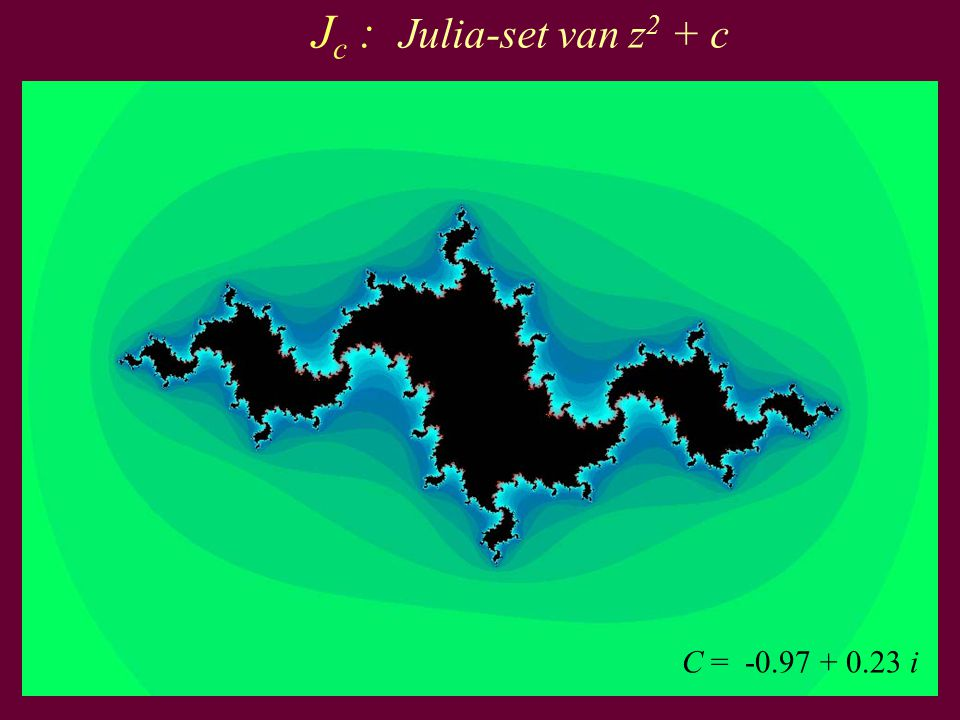 Jc : Julia-set van z2 + c C = -0.97 + 0.23 i