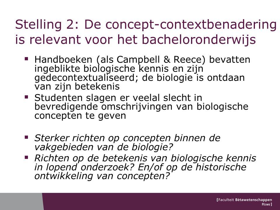 Stelling 2: De concept-contextbenadering is relevant voor het bacheloronderwijs