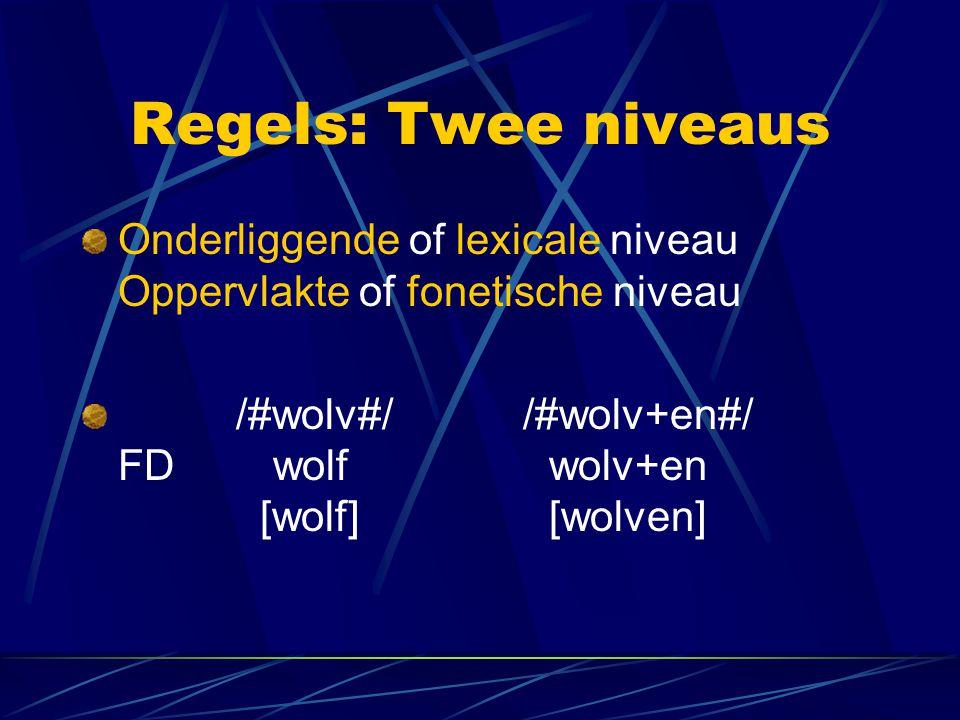 Regels: Twee niveaus Onderliggende of lexicale niveau Oppervlakte of fonetische niveau.