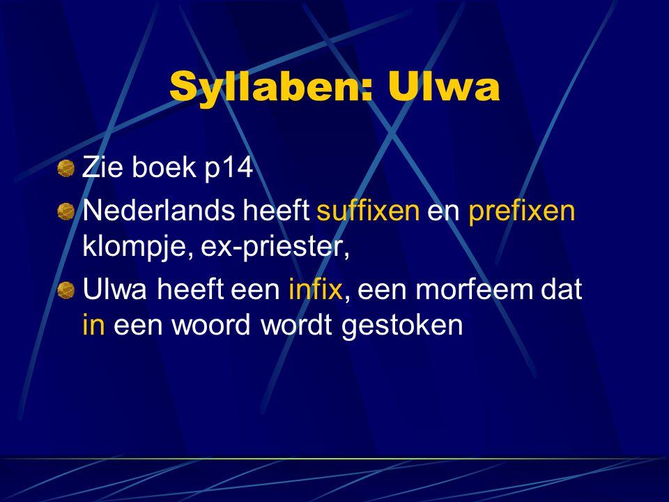 Syllaben: Ulwa Zie boek p14