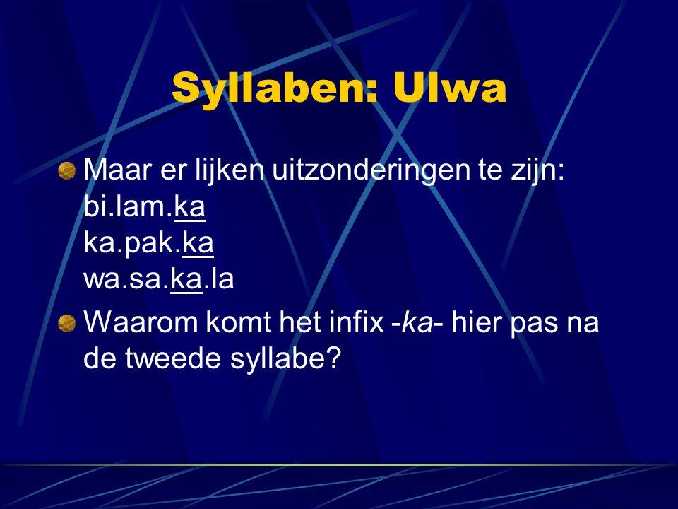 Syllaben: Ulwa Maar er lijken uitzonderingen te zijn: bi.lam.ka ka.pak.ka wa.sa.ka.la.