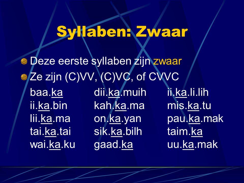 Syllaben: Zwaar Deze eerste syllaben zijn zwaar