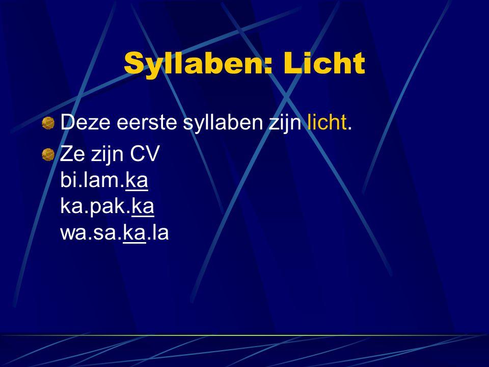 Syllaben: Licht Deze eerste syllaben zijn licht.