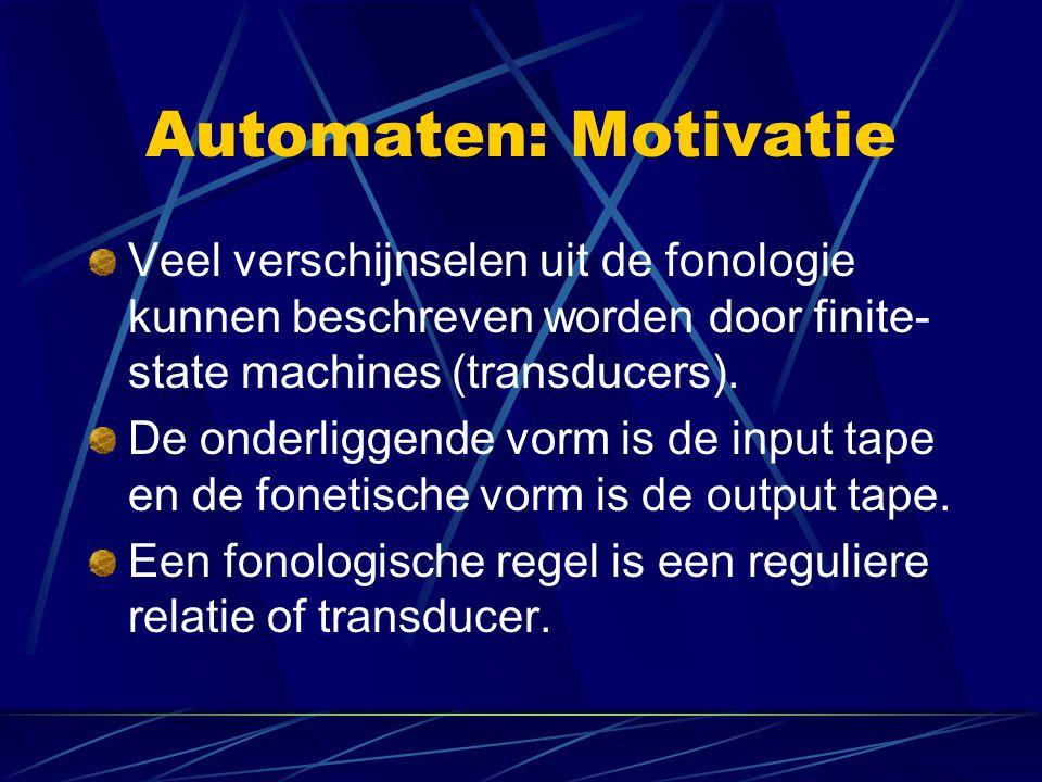Automaten: Motivatie Veel verschijnselen uit de fonologie kunnen beschreven worden door finite-state machines (transducers).