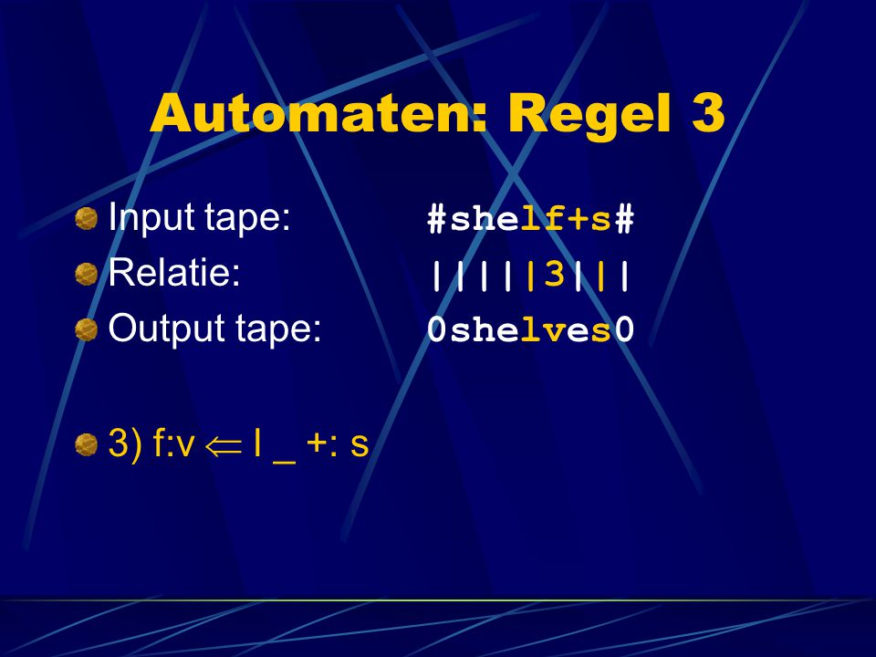 Automaten: Regel 3 Input tape: #shelf+s# Relatie: |||||3|||