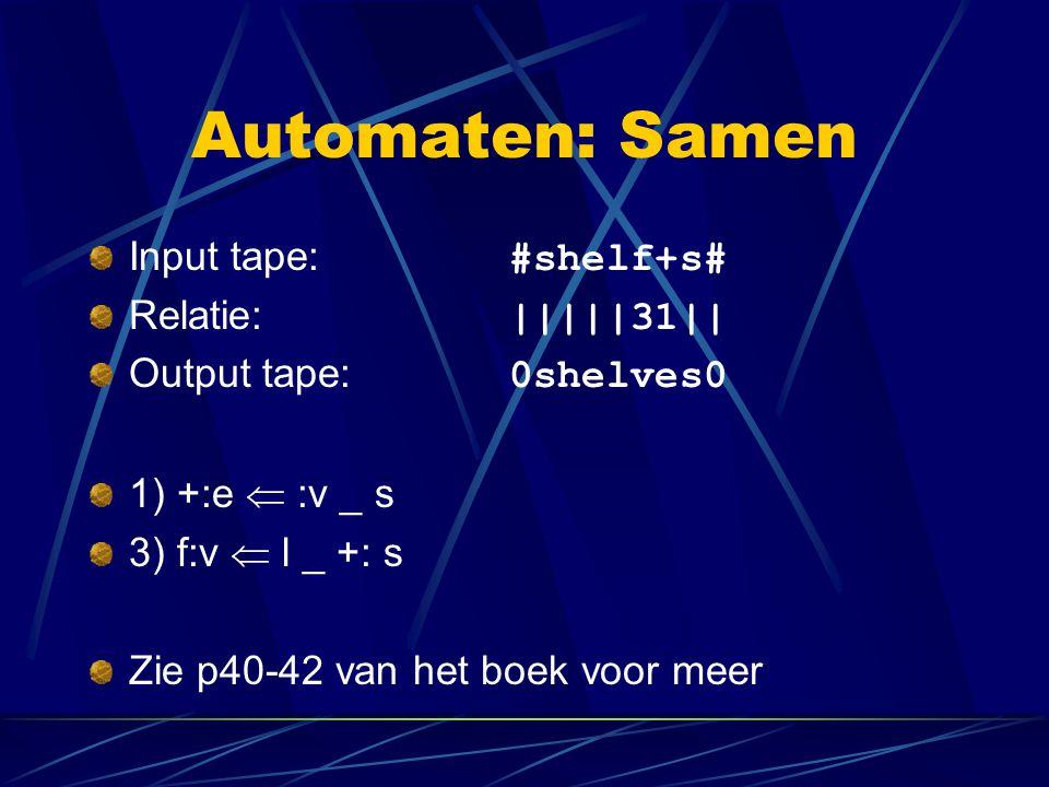 Automaten: Samen Input tape: #shelf+s# Relatie: |||||31||