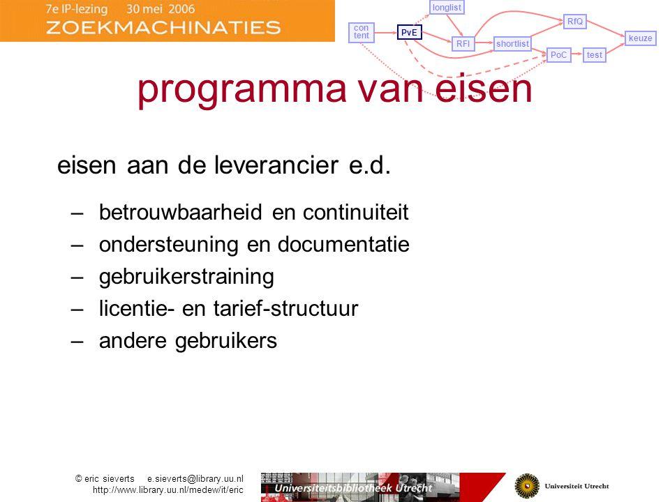 programma van eisen eisen aan de leverancier e.d.