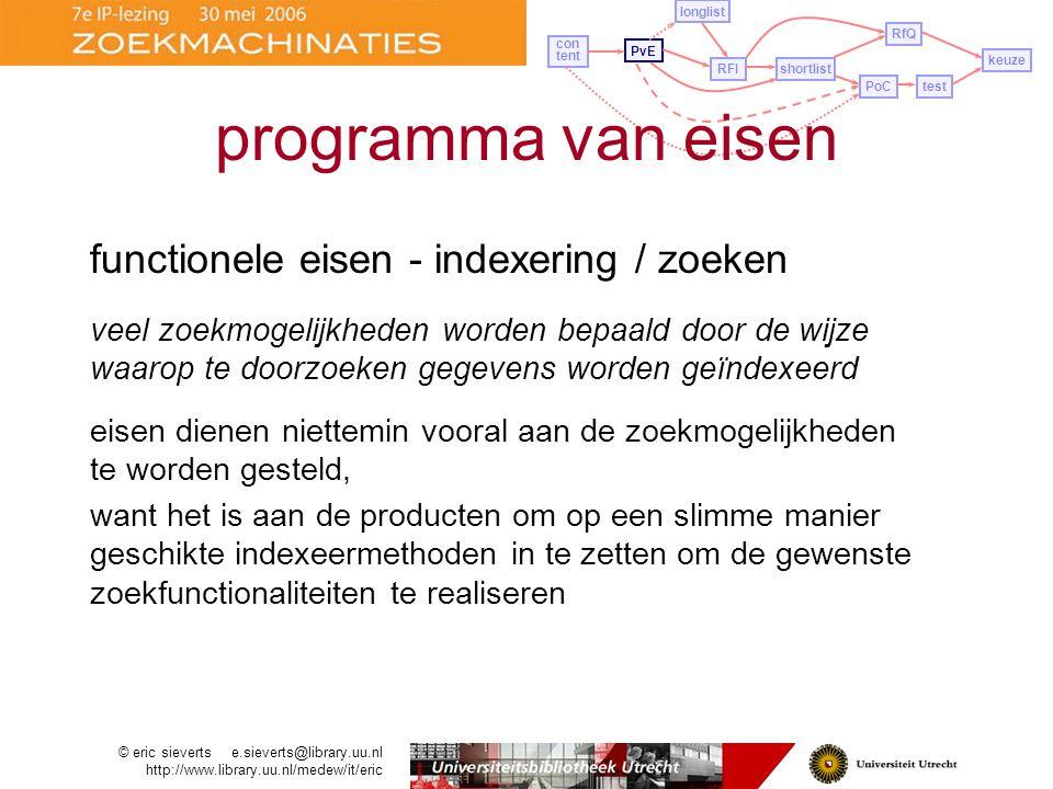 programma van eisen functionele eisen - indexering / zoeken