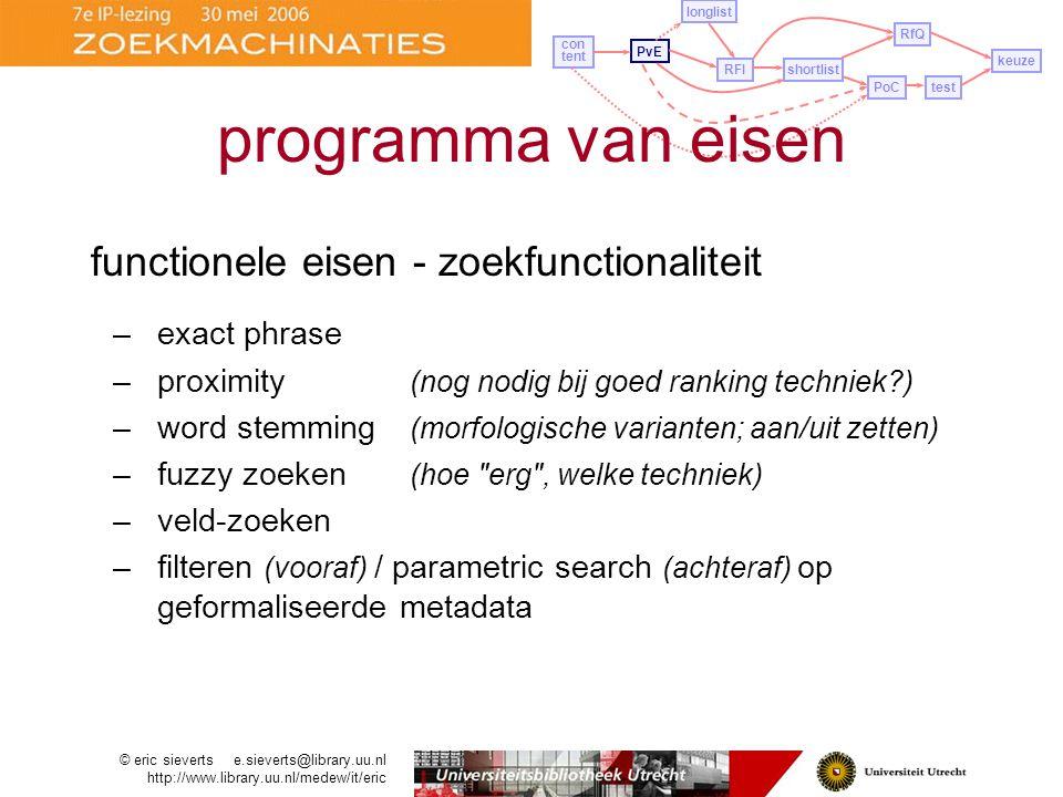 programma van eisen functionele eisen - zoekfunctionaliteit